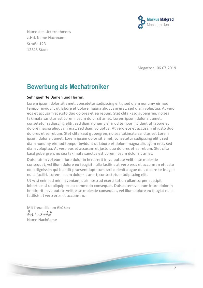 Bewerbung Schreiben Mechatroniker Mechatronikerin