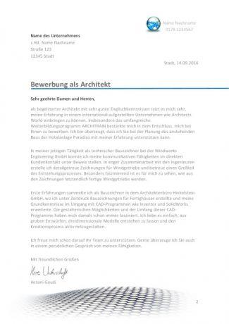 Architekt Bewerbungsanschreiben
