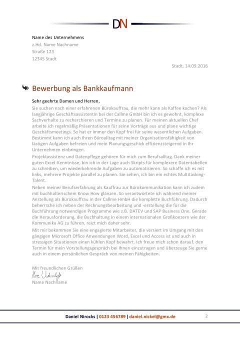 Bankkaufmann Bewerbungsanschreiben