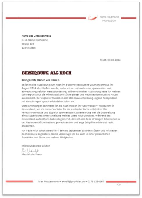 Bewerbungsschreiben Koch 2016