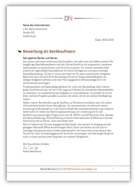 Bewerbungsschreiben Bankkaufmann / Bankkauffrau