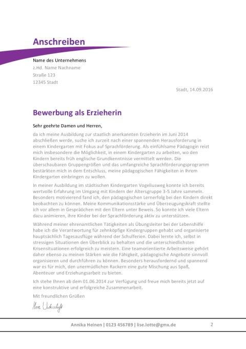 Bewerbungsschreiben Erzieherin / Erzieher 2017 | Jobguru