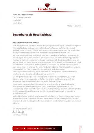 Hotelfachfrau Bewerbungsanschreiben