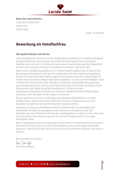 layout fr die bewerbung als hotelfachfrau jobguru - Bewerbung Als Hotelfachfrau